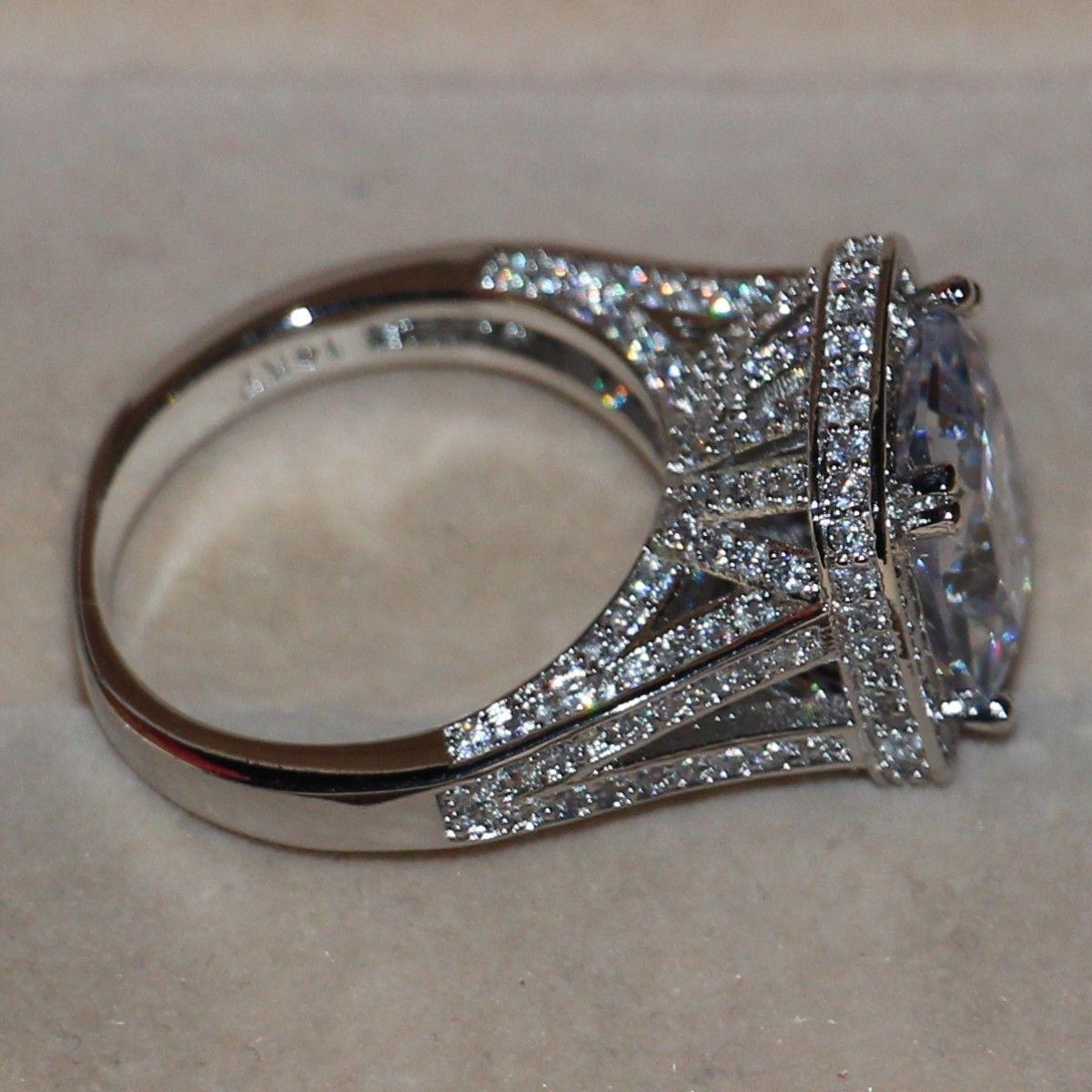 크기 5-11 럭셔리 쥬얼리 8CT 빅 스톤 화이트 사파이어 14kt 화이트 골드 채워진 GF 시뮬레이션 된 다이아몬드 웨딩 약혼 반지 링 애호가 선물