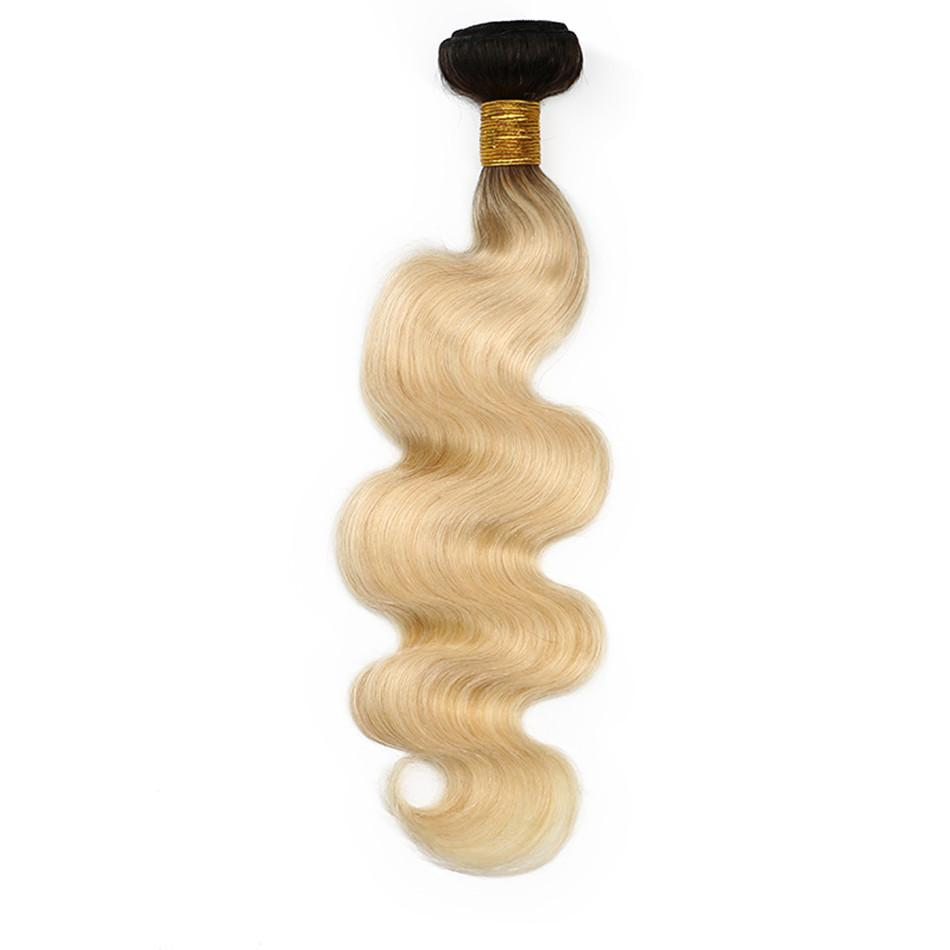 ELIBESS HAAR-Brasilianische Körperwelle Ombre Menschenhaar Bundles 1B / 613 100 gr / teil Farbe 2 Ton Remy Haar Weben Blonde Haareinschlagfaden