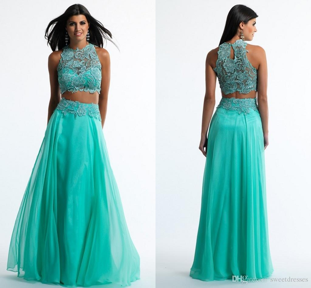2015 Fashion Two Piece Prom Dress O Neck Sleeveless Lime Green Lace ...