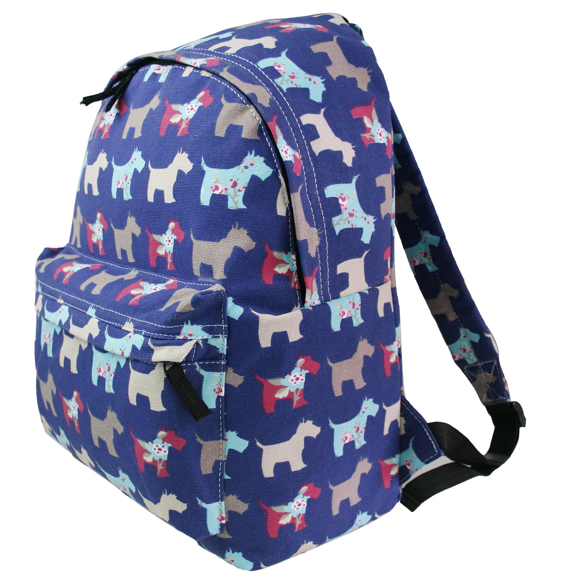 Boys Girls Scottie Dog Canvas Backpack School College Shoulders