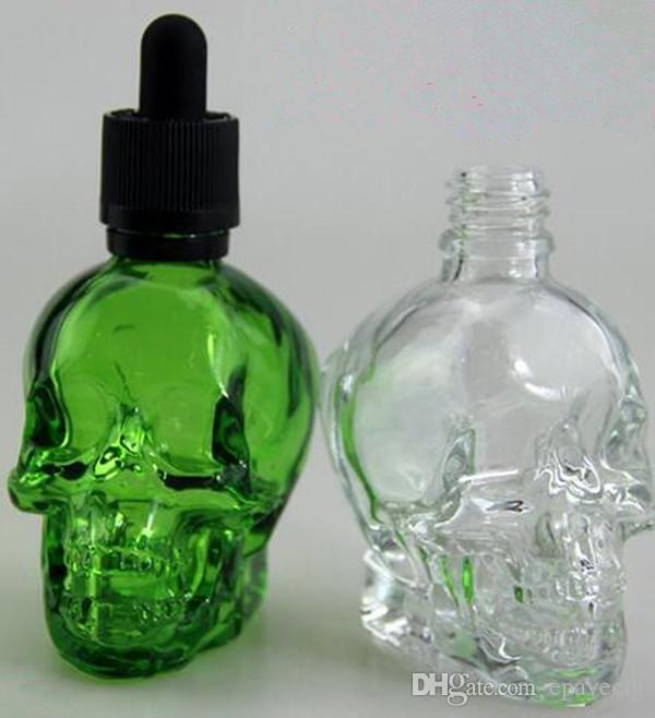 120 ml Skull Head Glass Dropperflaska Barnsäker Elektrisk Cigarettjuice Flaska Klar glas Tom E-flytande flaskor