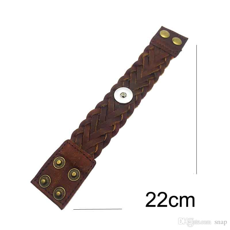 Chaud Véritable Origina En Cuir Véritable À La Main Tissage 18mm Bouton pression Bracelet Interchangeable Charme Bijoux Pour Femmes Hommes