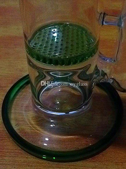2015 Phone Cases Hand Blown 7mm Thickness Glass Bong Vase Perc Water Pipe Percolator Smoking 2 X Honeycomb Disk 18.8mm Join Green,blue,clear