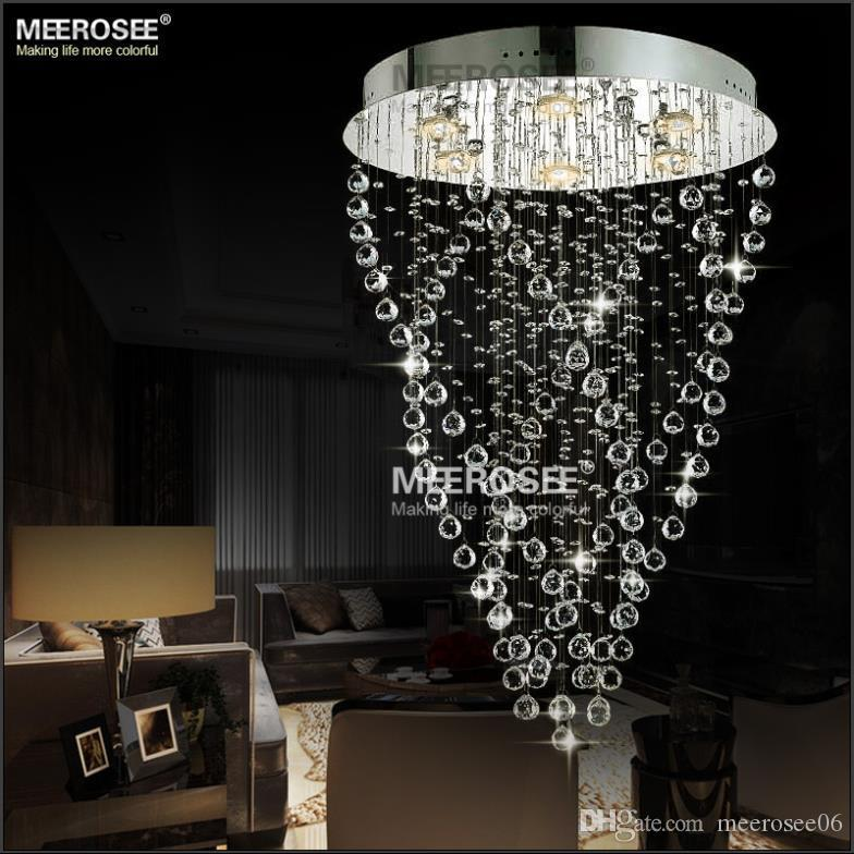Modern spiral crystal chandelier light fixture long crystal light modern spiral crystal chandelier light fixture long crystal light lamp flush mounted stair light fitting for staircase villa modern chandelier light spiral mozeypictures Images