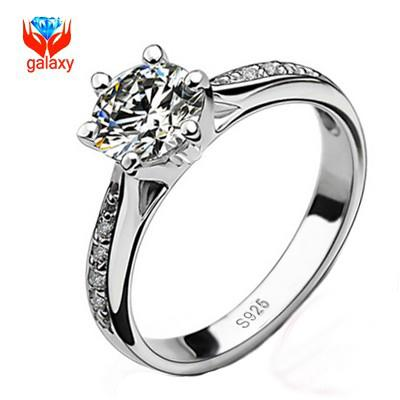 real 925 sterling silver wedding rings for women classic 6 prong 15 ct swiss cubic zirconia diamond engagement ring hot sell wholesale zr21 ring women - Sterling Silver Diamond Wedding Rings