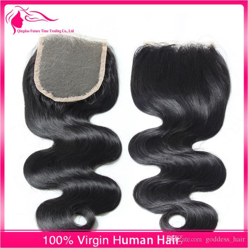 Onda del cuerpo del cabello humano peruano con cierre de encaje / lote onda corporal 4x4 Cierre de encaje con color de extensión de cabello # 1b envío gratis
