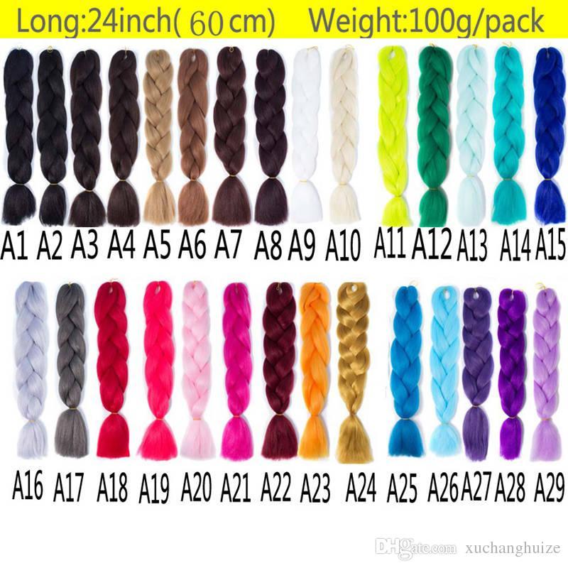 Extensiones de cabello Jumbo Braids Pure Pink Blue White Blonde Color 24 pulgadas 100 g / pc Kanekalon Fiber para Twist Box Trenzado de cabello