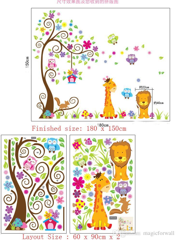 Chambre d'enfant chambre d'enfant PVC Wall Art autocollant hibou lion girafe arbre de fleurs mur autocollant décor papier peint maison décor autocollants