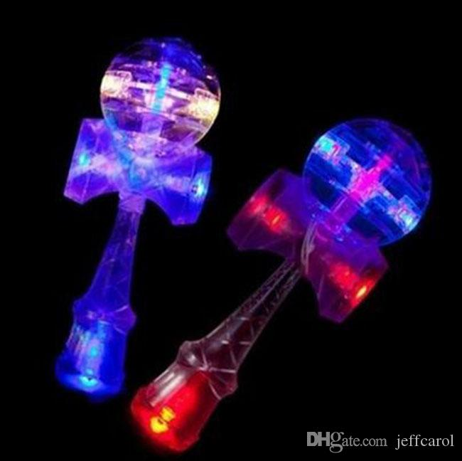 Christmas gift part present LED Japanese Traditional LED flash Game Toy Kendama 18.5 cm educational ball