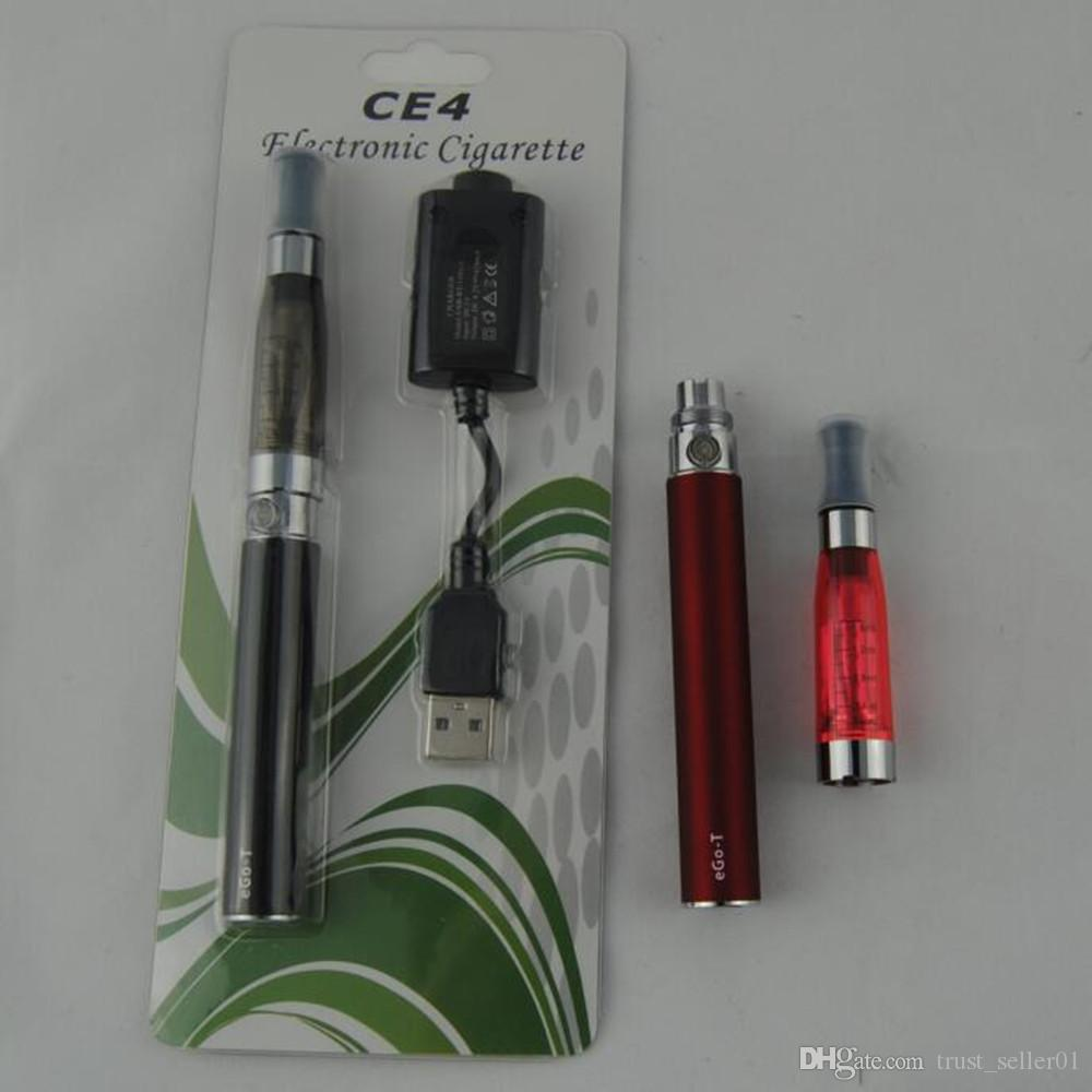 HOT eGo Starter kits CE4 Vaporizador Ecigs evod 650mah 900mah 1100mah EGO-T batería ce4 Atomizador Clearomizer tank vape blister kit DHL
