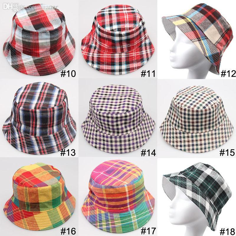 5e8380dd9886f8 Wholesale Classic Canvas Hats For Men And Women Plaid Fashion Fishing  Bucket Hat Bob Chapeu Summer Outdoor Traveling Panama Sun Hats Flat Bill  Hats Beach ...