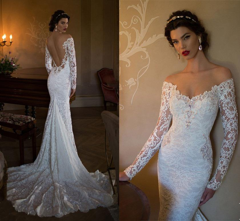 2015 Elegant Long Sleeve Wedding Dresses Berta Beaded Off Shoulder ...