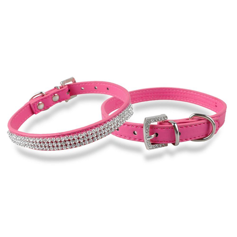 熱い販売ラインストーンディアマンテ犬の襟ファッションPUレザージュエリーペットカラー子犬ネックレス4サイズ5色