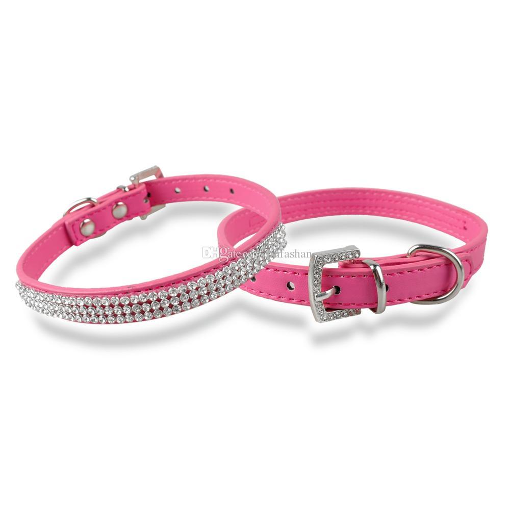 Vendita calda diamante strass collari cani moda PU gioielli in pelle collana collare cucciolo 4 dimensioni i