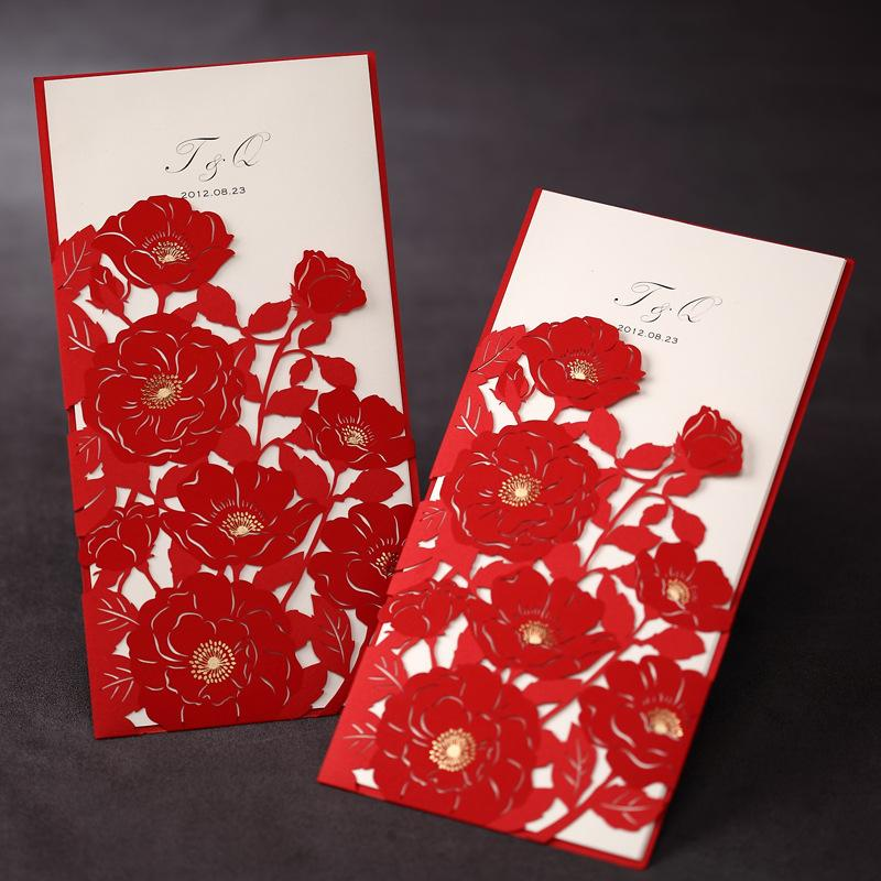 wsm42 fashion new red rose flower red wedding invitations cards with customize printing wholesale free shipping - Red Wedding Invitations