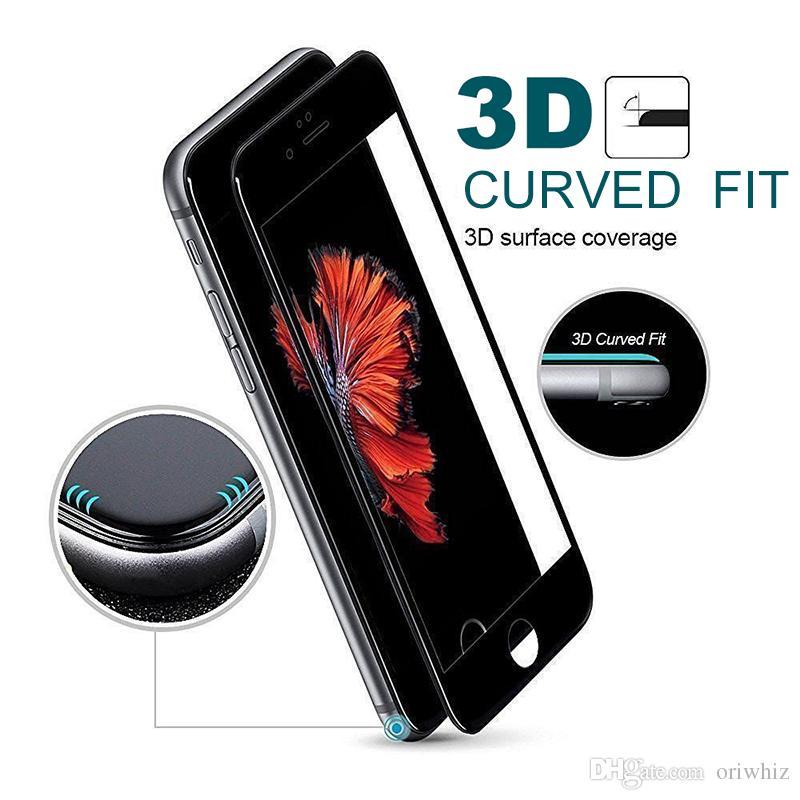 Verre Trempé 3D HD Film de Protection Souple pour iPhone X 6 6s 7 8 Plus Protecteur d'Écran en Fibre de Carbone Couverture Totale Epacket
