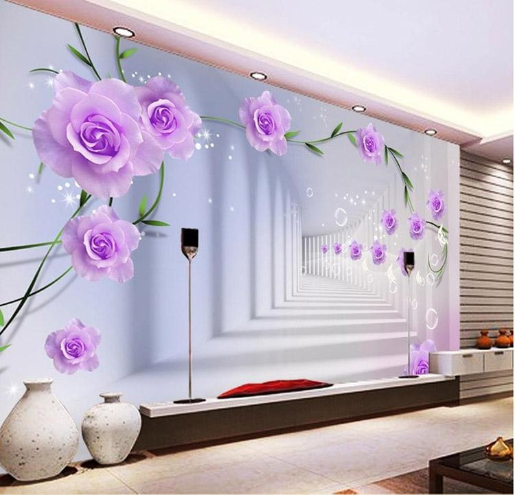 Elegant Photo Wallpaper Custom 3d Wall Murals Purple Flowers