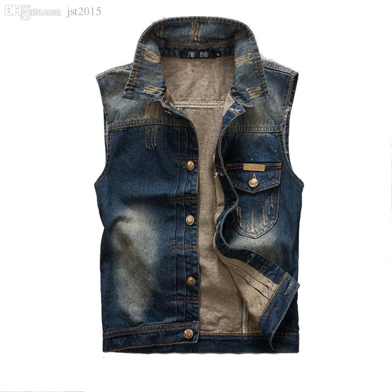 cd768f041eb 2019 Fall 2016 New Fashion Mens Denim Vest Vintage Sleeveless Washed Jeans  Waistcoat Man Cowboy Ripped Jacket Asian Size Tank Top