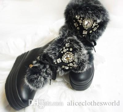 2017 Winter Women Snow Boots Height Increasing Platform Wedge Boots Crystal Diamond Ankle Bootie Lace-up Fashion Women Shoes