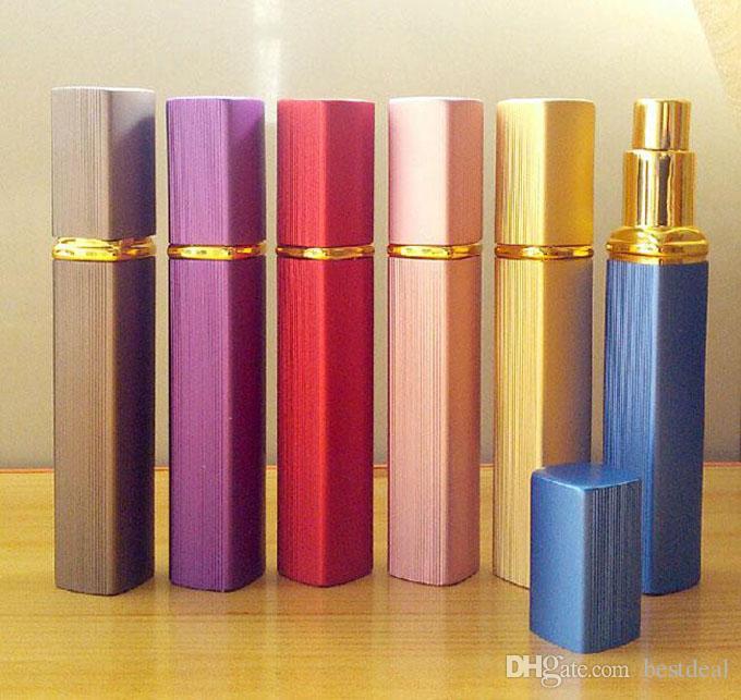 Caja metálica de es Botella de perfume 12ml Botella de perfume Boquilla de aluminio Botellas rellenables Vacíos de metal vacíos
