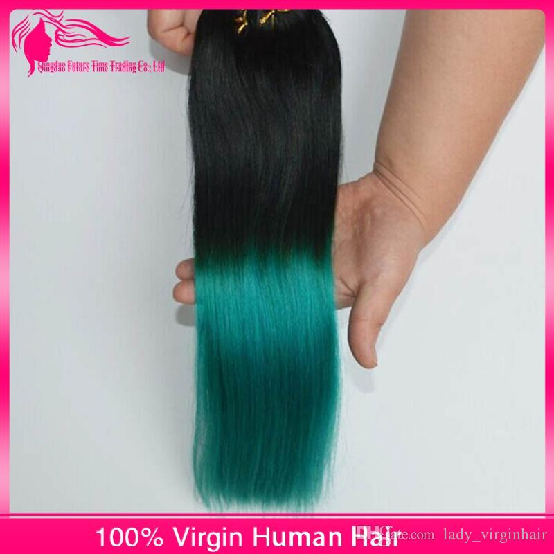 1B/green Ombre Hair Extensions Black to Green hair wefts Human Hair Weave Bundles Ombre Brazilian silky Straight two tone Hair