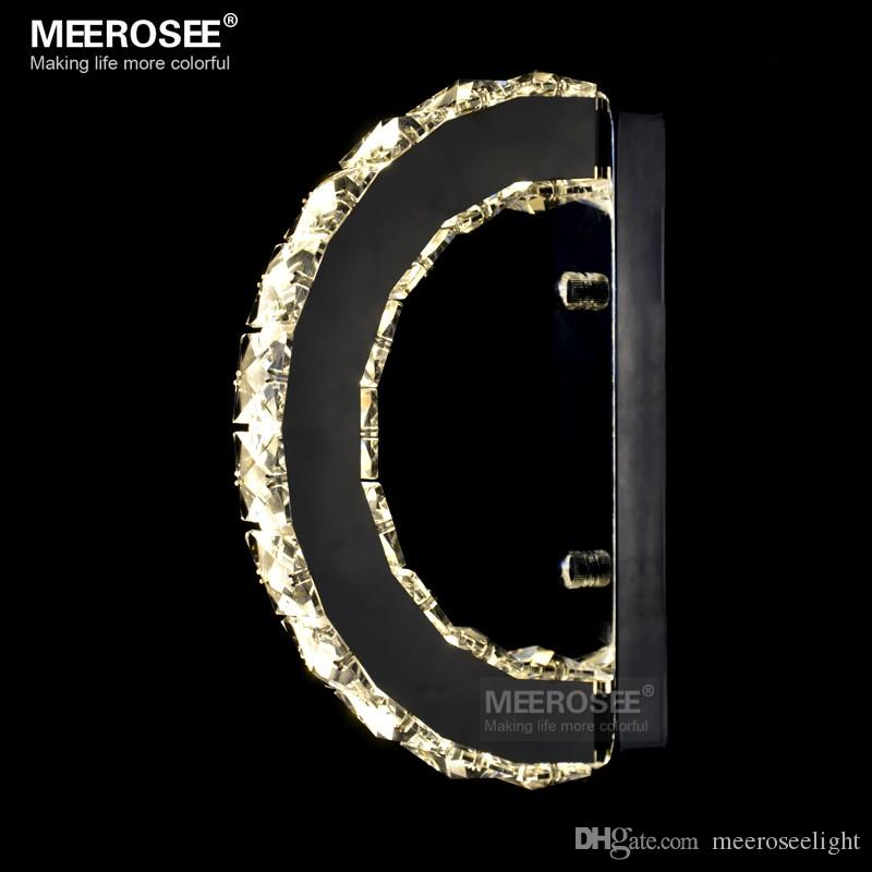 Modern LED Wall Light Fixture Crystal Wall Sconce Lustres D Shape Mirror Stainless Steel Beside Lamps for Bedroom Bathroom