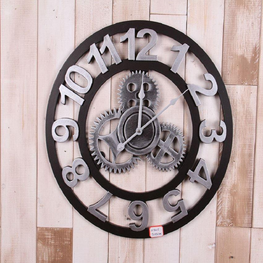 16 Inch Silver Color Hand Made Wooden Wall Clock New Loft
