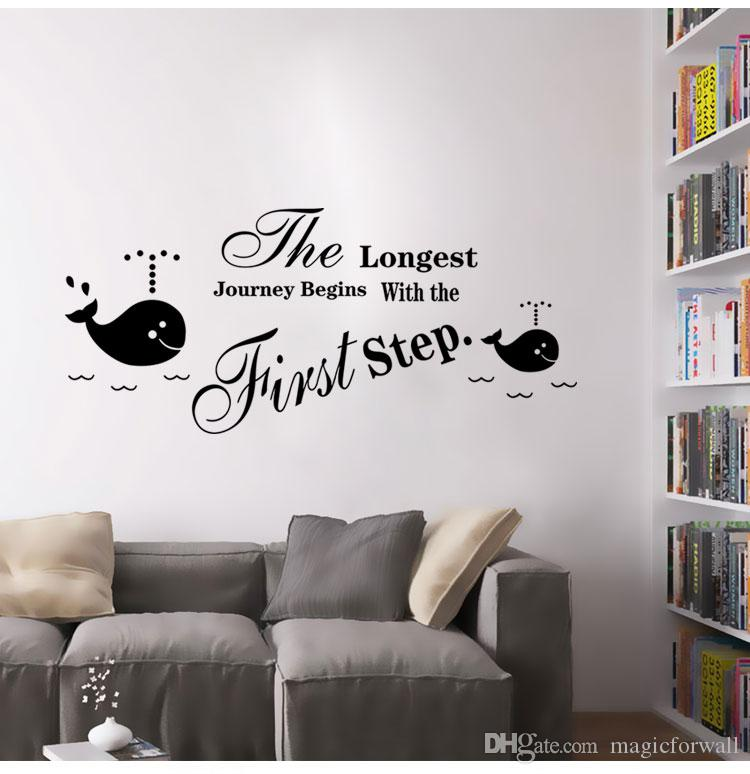 Inspiration Wall Quote Decal Sticker Art Mural Poster Decor---The longest journey begins with the first step English Letter Room Art Decor