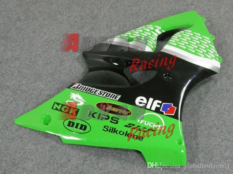 Decals Green Injection Fairings Bodywork kit Kawasaki Ninja ZX6R 2000-2002 24
