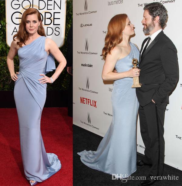 8fafdee400d Amy Adams 2016 Celebrity Evening Dresses One Shoulder Draped Light Blue  Mermaid Prom Evening Gowns Red Carpet Dress BO7722 Evening Dresses On Sale  Evening ...