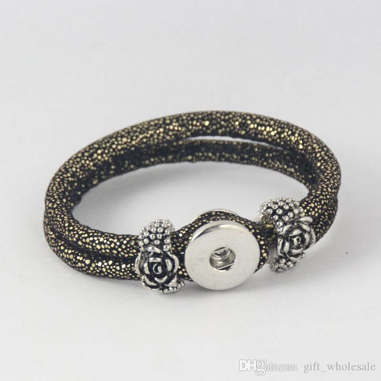 European Brand hot sale Black Gold Color bracelet DIY chunks snap button jewelry with rose flower