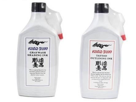 2 bouteilles noires d'ombre et de noir soulignant l'encre de tatouage de Kuro Sumi Graywash 12 oz 360ml / bouteille de tatouage de tatouage