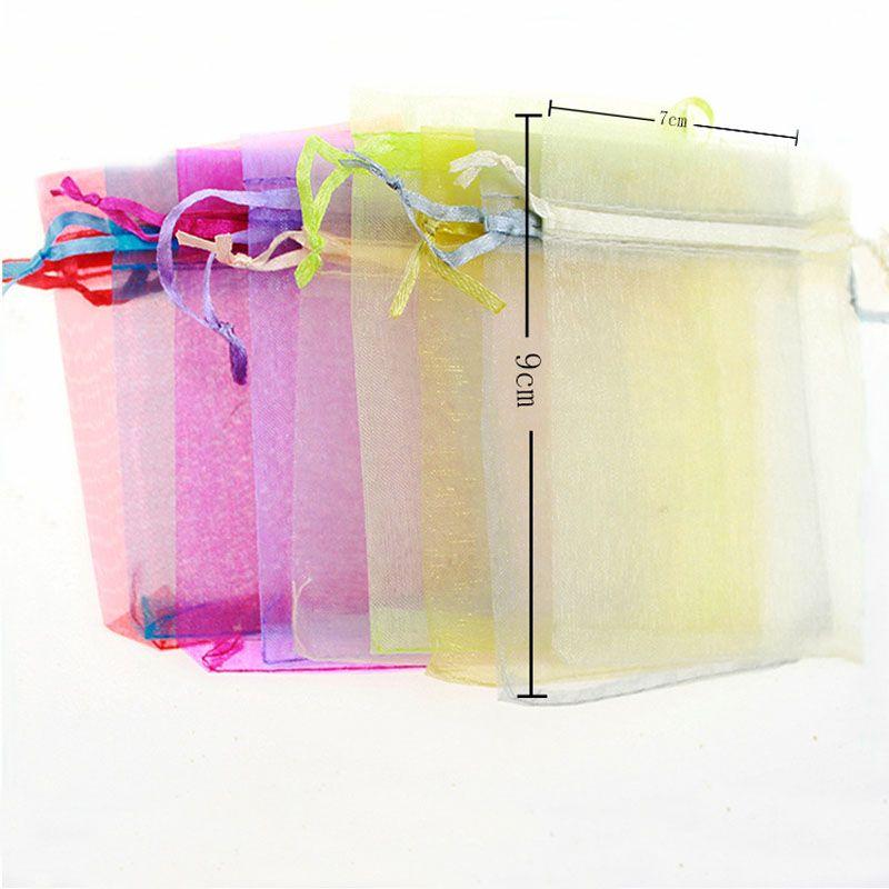 الألوان 7 * 9cm شبكة الأورجانزا حقائب مجوهرات هدية الحقيبة حفل زفاف عيد الميلاد هدية أكياس الحلوى الرباط حزمة أكياس 240197