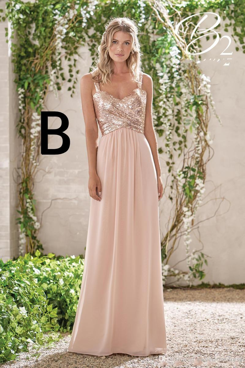 2017 hot sale two style Rose Gold Bridesmaid Dresses A Line Spaghetti Backless Sequins Chiffon Cheap Long Maid of Honor Gowns