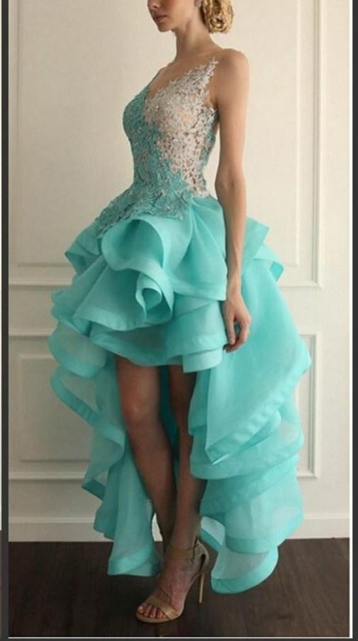 Hot 2016 Vestido High Low Backless Prom Dresses Lace Applique Organza Tiered V neck Special Occasion Party Gowns 2015 Homecoming Dress