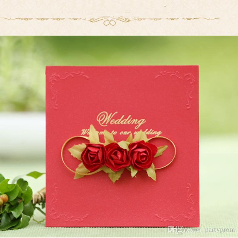 Rose Wedding Invitation Card Design Free Customized Printing Wedding Party Decoration Wedding Invitations Party Event Accessory