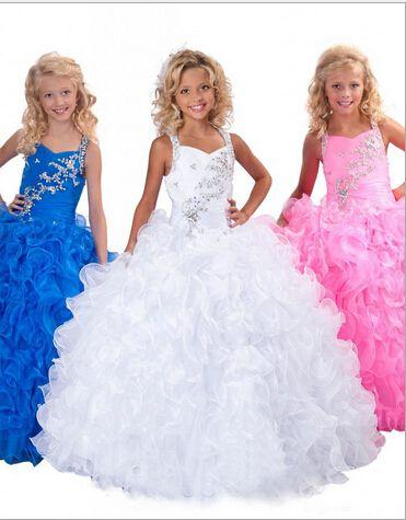 2015 White Little Girl's Pageant Dresses Beaded Ruffles Organza Ball Gown Floor Length Flower Girl Dresses RG6139