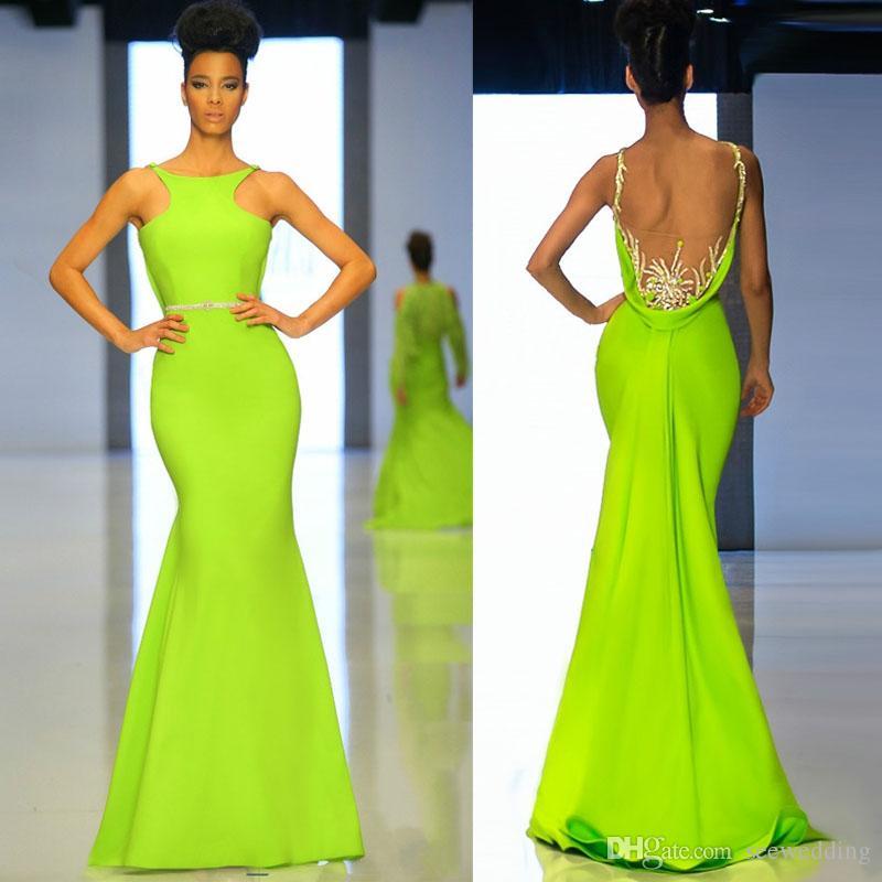 Custom 2015 Lime Green Prom Dresses Sexy High Neck Beaded ...