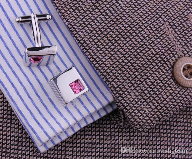 Mancuerna de plata cristalina de alta calidad para la camisa Gemelos franceses Regalos del día de padres para hombres joyería boda gemelos W134