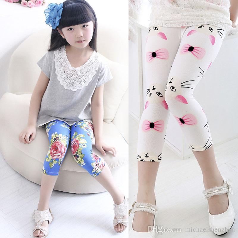 flower dot leggings 2015 New children fashion clothing girls leggings long trousers B001