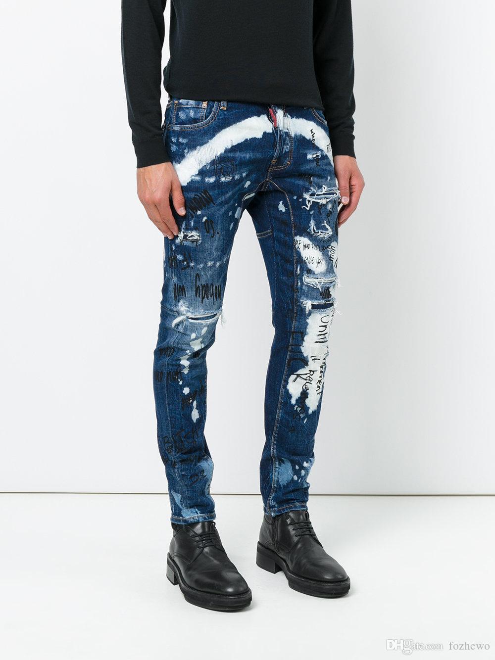 2018 Men Distressed Graffiti Jeans Brand Clothing High Quality Fashion Straight Male Pants Classic Denim Trousers Men Jeans