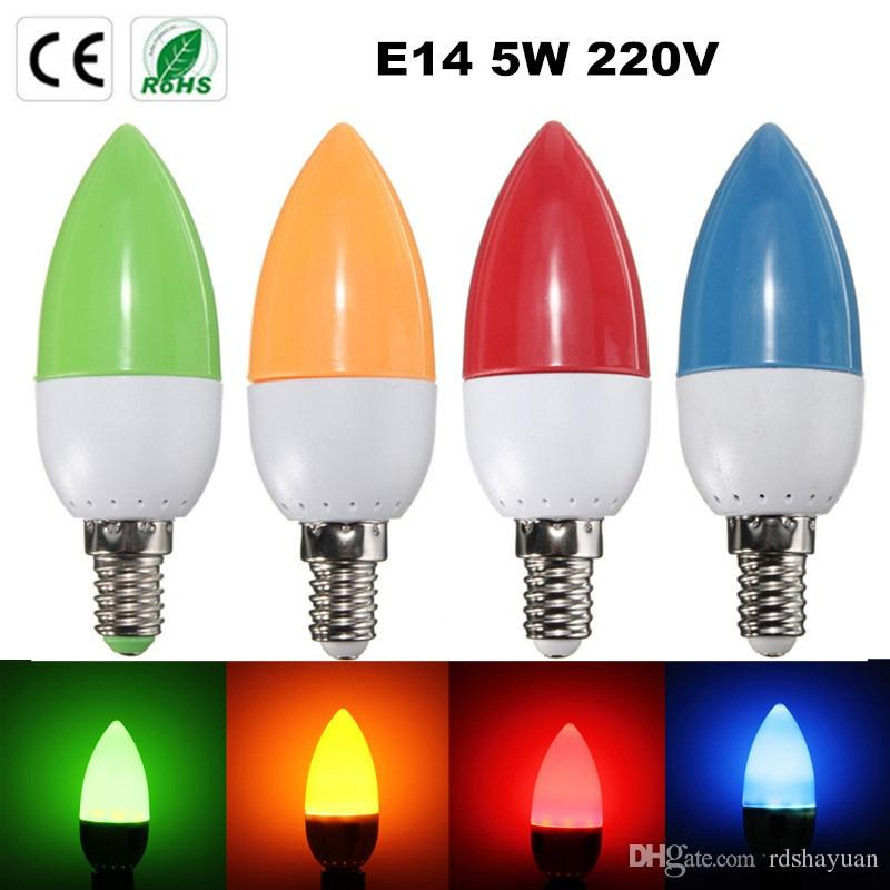 E14 2835 SMD 8 LEDs Energy Saving Chandelier Candle Light Bulb Lamp 200Lumen Non Dimmable Orange Green Blue Red AC 220V 5W