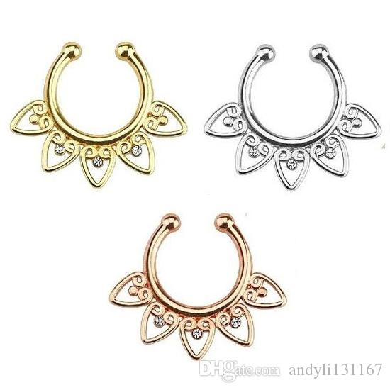fake septum nose rings and studs Medical Titanium 316l nose fake piercing rings with Zircon for body jewelry N0003