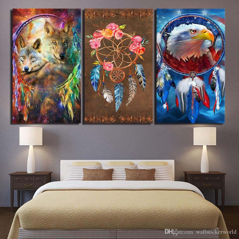 3 Panel HD Printed Framed Wolf Eagle Dreamcatcher Wall Artwork Canvas Modern Print Painting Poster Picture For Home Decor