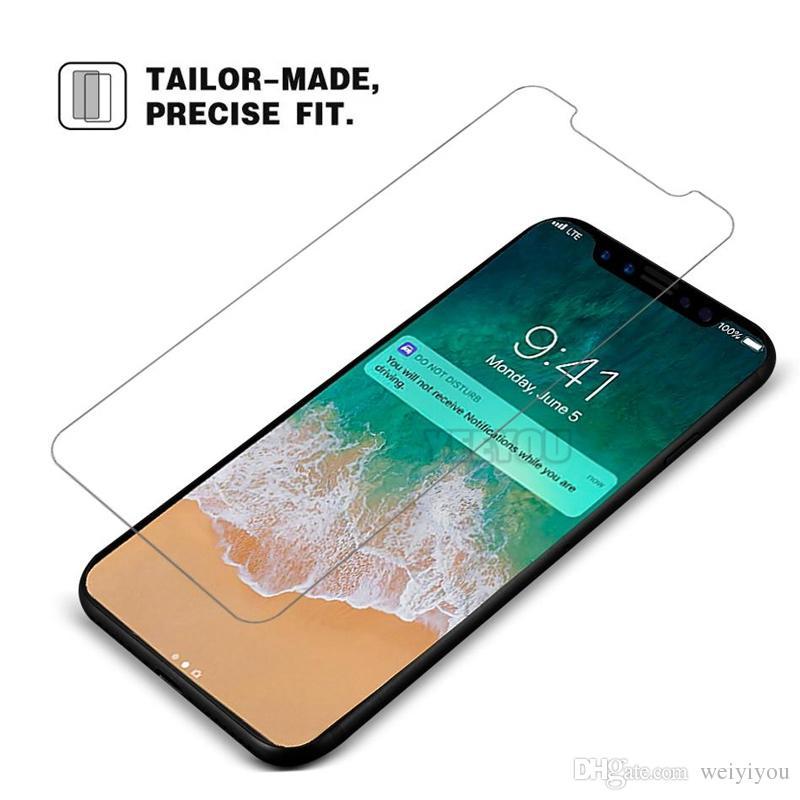 iPhone X 8 8Plus 6S Pellicola proteggi schermo in vetro temperato Samsung S6 edge S8 Note 8 pellicola trasparente protezione senza Pakcage