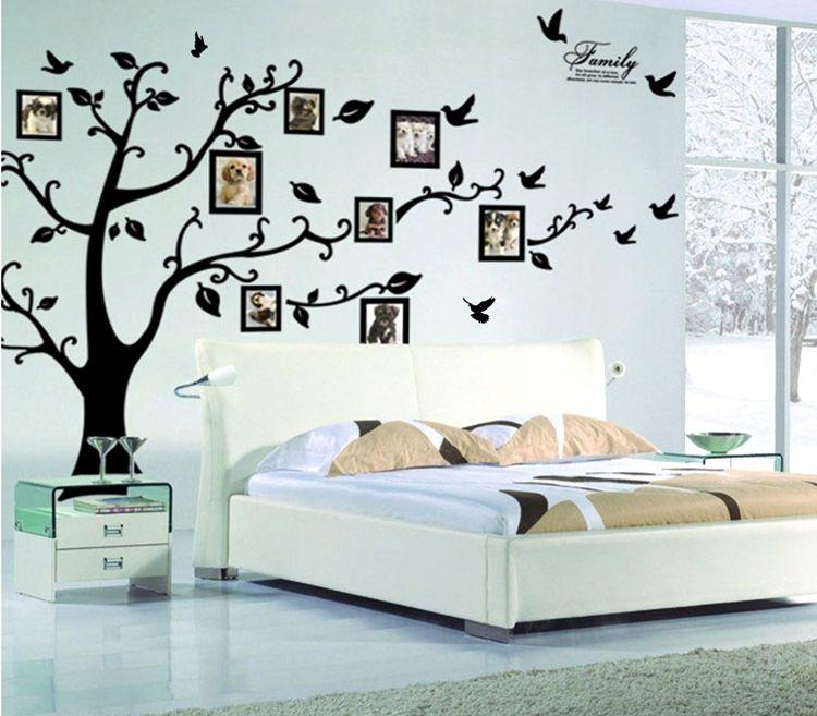 التجزئة 1800 * 4500 ملليمتر عائلة كبيرة الحجم الأسود إطارات الصور شجرة ملصقات الحائط diy تزيين المنزل جدار الشارات الحديثة الفن الجداريات لغرفة المعيشة
