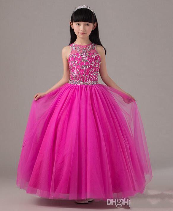 Hot Pink Beaded Pageant Dress For Little Girls Full Skirt Long Tulle Kids Party Gown Birthday Dress Custom Made