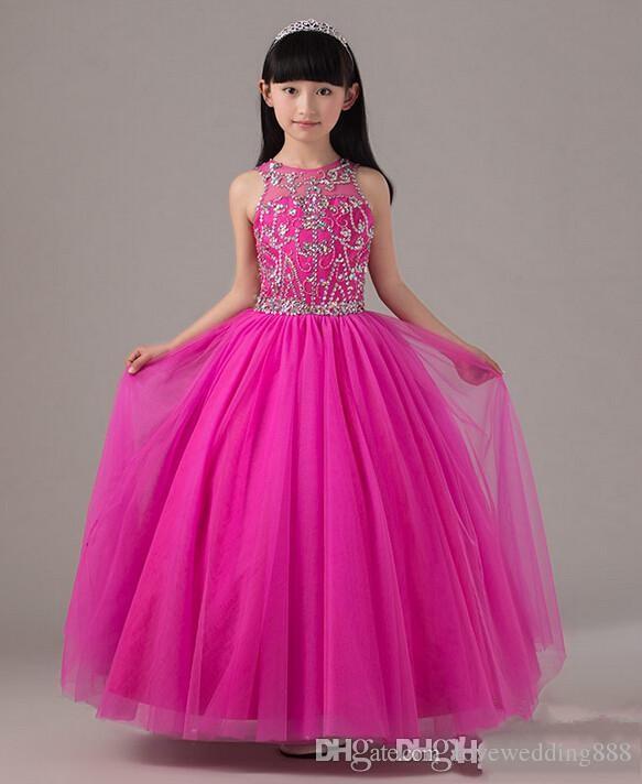 Hot Pink Perlen Pageant Kleid Für Kleine Mädchen Voller Rock Lange Tüll Kinder Party Kleid Geburtstag Kleid Maß