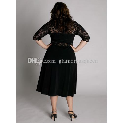 Новое прибытие линия V-образным вырезом чай длина плюс размер черный мать свадебное платье с половиной рукава кружева дизайн короткие невесты свадебное платье