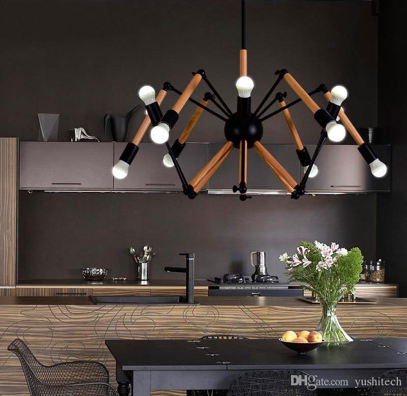 Modern Adjustable Wooden Pendent Lighting Fixture 85-265V AC Loft Iron Ceiling Lamp E27 Edison Metal industrial Style Spider Light